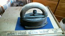 Mrs. Potts Sad Iron + Cast Iron Footed Stand + Wood Handle antique vintage old