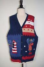 New listing Quacker Factory Sweater Vest Angel Usa Flag Birdhouse Patriotic Americana Large