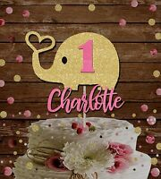 1st birthday cake topper, custom name age elephant decoration, baby shower