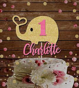 1st birthday cake topper, custom name age elephant decoration, baby shower