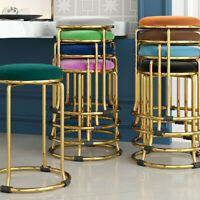 Modern Colorful Velvet Round Seat Gold/Black Frame Kitchen Stools Guest Chairs
