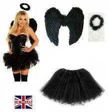 WOMENS DARK ANGEL BLACK FEATHER WINGS HALO 3LAYER TUTU SKIRT FANCY DRESS COSTUME