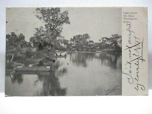 "1900 PHOTO POSTCARD "" LAKE ABOVE DAM, WELLINGTON KANS. "" WELLINGTON KS CANCEL"