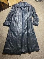 Tibor Women's Black LONG Leather Jacket Trench button , 3/4 Sleeve