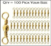 Brass Barrel Swivels Fishing Swivels Bulk Buy Value Packs Of 100 Pick your Size