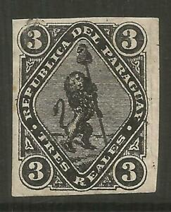 STAMPS-PARAGUAY. 1870. 3 Real Black, Lion & Cap of Liberty. SG: 3. Tiny Thin, MH