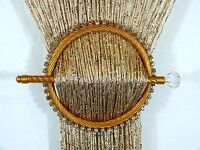 STRING NET CURTAIN TIE BACK GOLD CIRCLE