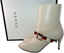 $1,290 Gucci Web Trimmed Buckle Ankle Boots Shoes Booties Pump 35.5 Pointy Toe