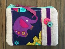 Handmade Fabric Coin Purse Small Make Up Bag Elephant Zoo Animal Gingham Safari