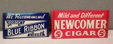 2 VINTAGE BLUE RIBBON & NEWCOMER CIGARS STICK UP PAPER ADVERTISING SIGNS