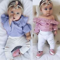 2PCS Toddler Infant Baby Girl Striped Tops Romper Ripped Pant Outfit Clothes Set