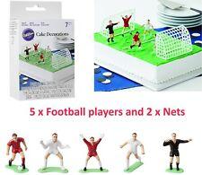 7pcs Multi Colored Topper Football Cake Decoration Set Wilton 5 Players 2 Nets