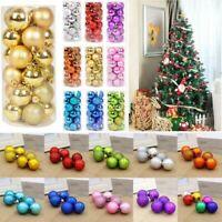 30/40/60/80mm Christmas Tree Baubles Plain Glitter Xmas Ornaments Balls Decor Sd