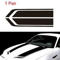 2pcs/1Pair Car Racing Sports stripes Hood Decals Vinyl Bonnet Stickers Black