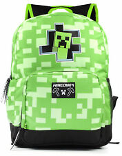 "Minecraft Creeper Inside Kids Green School Backpack Boys Rucksack 18"""