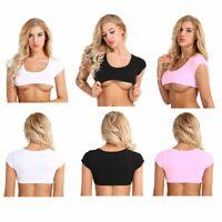 Femme Crop Top Mini T-Shirt Sexy Cropped Haut à Manches Courtes Soutien-Gorge