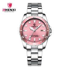 CHENXI Women Pink Watch Steel Bracelet Date Display Wristwatch Lady Girl Watches