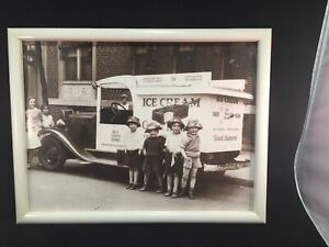 "Good Humor Ice Cream Truck Kids Circa 1930s Reprint Photo Print 16""x12"" Frame"