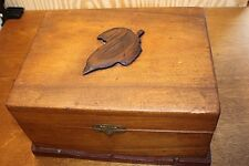 Vintage Wood Dresser Top Trinket Box Wood Ornate Elm Leaf Lined with material