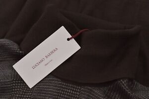 Luciano Barbera NWT Turtle Neck Sweater Size 54 XL US Brown Gray Plaid Wool/Silk