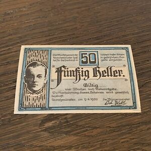 AUSTRIA BANKNOTE - 50 HELLER - 1920 - FREE SHIPPING