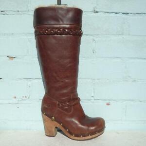 UGG Leather Boots UK 4.5 Pull on Savanna Sheepskin Clog Studs Brown Platform
