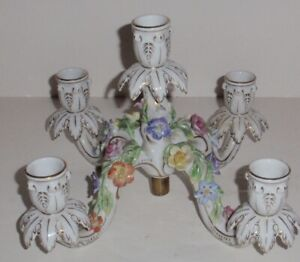 Antique Carl Thieme Dresden Porcelain 5 branch Candelabra insert.