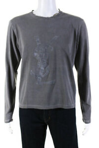 Yves Saint Laurent Mens Cotton YSL Logo Long Sleeve T-Shirt Gray Size Medium