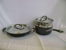 """KIRKLAND SIGNATURE COOKWARE 2 PANS 3 Qt SAUCIER W/ STEAMER,12"""" EVERYDAY PAN NSF"""