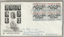 """Ersttagsbrief FDC USA """"Society of Composers/Authors/Publishers"""" 1964 Marken"""