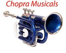 Taschen Trompete 3V Messing Hergestellt Chopra Machen (Blau Farbe) Mit Mundstück
