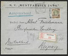 Netherlands Indies covers 1909 NVPH 75 R-cover Semarang to Leipzig