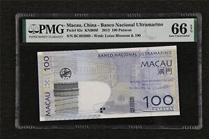 2013 Macau China-Banco Nacional Ultramarino 100 Patacas Pick#82c PMG 66 EPQ UNC