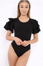 Womens Ladies Short Sleeve Ruffle Frill Arm Leotard Bodysuit Dress Top Shirt Black 8
