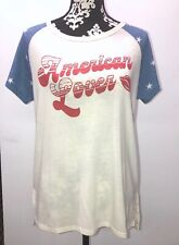 NWT Junk Food Womens American Lover T Shirt Stars Lips Red White Blue Size M