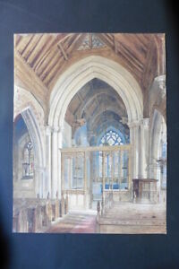 FRENCH SCHOOL 19thC - LARGE SIZE WATERCOLOR - A CHURCH INTERIOR