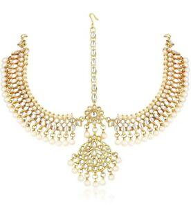 Indian Fashion Jewelry Matha Patti Kundan Maang Tikka Bridal Head Chain Damini