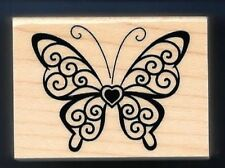 BUTTERFLY PAISLEY HEART CENTER Love Religious Design NEW craft RUBBER STAMP