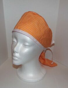 Scrub Cap / Hat tie back with tie back and pony-tail holder