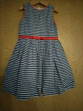 Rachel Riley Nautical dark navy striped & red bow designer dress.  100% cotton.