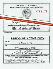 United States Army, Army Reserve or National Guard Honorable Discharge Lam Card