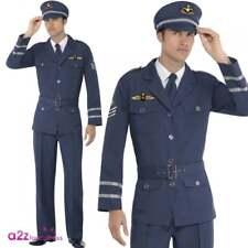 Mens WW2 Air Force Male Captain 40's Wartime Uniform Adult Fancy Dress Costume