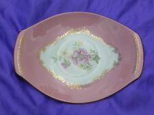 "Vintage Figgjo Flint Cake Plate Flowers Gilt Filigree Pink 9.75"" -  24.25cm"