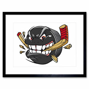 Painting Illustration Cartoon Ice Hockey Puck Angry Framed Print 12x16 Inch