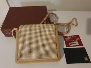 Vintage Beige Or Bone Glomesh Handbag With Box, Mirror & Card
