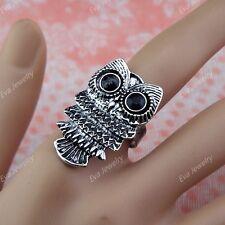 10pcs Wholesale Vintage Jewelry CZ Rhinestones Retro Antique Silver P Owl Rings