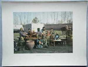 ca.1895 French photochrom MAKING OF CASINGS, BUKHARA, UZBEKISTAN, CENTRAL ASIA