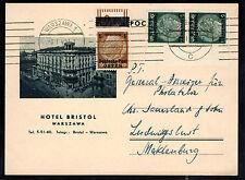1940 Warsaw Poland Postcard Cover Hotel Bristol Cachet to Ludwigslust Germany