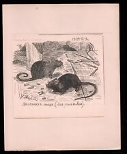 1911 Russian Art Sermoskin Ivan Ink on paper Original Drawing House mouse