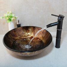 Oval Tempered Glass Bathroom Vessel Sinks & Black  Mixer Faucet Set